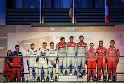 Podium: race winner Lucas di Grassi, Loic Duval, Oliver Jarvis, Audi Sport Team Joest, second place Romain Dumas, Neel Jani, Marc Lieb, Porsche Team, third place Matheo Tuscher, Dominik Kraihamer, Alexandre Imperatori, Rebellion Racing