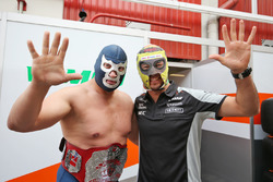(L to R): Blue Demon Jr., Luchador and Wrestler with Sergio Perez, Sahara Force India F1