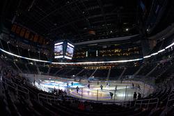 Atlanta Thrashers hockey game: Atlanta Thrashers and Carolina Hurricanes players get ready for the game