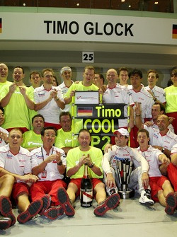 Tadashi Yamashina, Chairman and Team Principal and Timo Glock, Toyota F1 Team celebrate 2nd place with the team