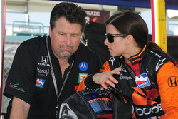 Michael Andretti and Danica Patrick talking