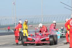 Dario Franchitti makes a pitstop