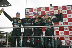GT1 podium: FIA-GT GT1 champions Michael Bartels and Andrea Bertolini celebrate with class and overall winners Alessandro Pier Guidi and Matteo Bobbi