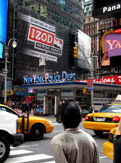 A billboard promoting the IZOD IndyCar Series on Time Square in New York City