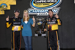 Championship victory lane: 2009 champion Ron Hornaday celebrates with team owners Delana and Kevin Harvick