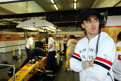 Robert Kubica in the Renault F1 Team garage