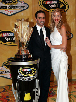 Four time NASCAR Sprint Cup Series Champion Jimmie Johnson and his lovely wife Chandra pose with the Sprint Cup