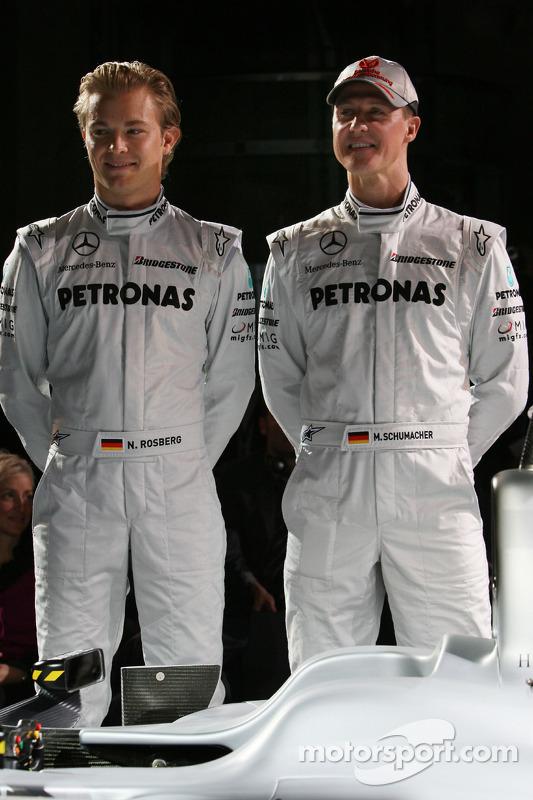Nico Rosberg en Michael Schumacher