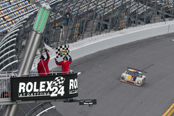 #9 Action Express Racing Porsche Riley: Joao Barbosa, Terry Borcheller, Ryan Dalziel, Mike Rockenfeller takes the checkered flag to win the race