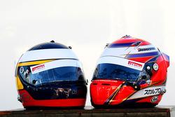 Pedro de la Rosa, BMW Sauber F1 Team and Kamui Kobayashi, BMW Sauber F1 Team helmets