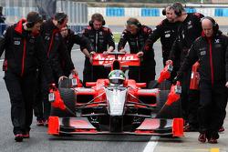 Lucas di Grassi, Virgin Racing, stops in the pitlane