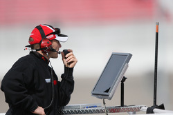 Roush Fenway Racing Ford team member watches practice action