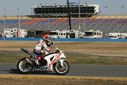 Race winner Jake Zemke celebrates