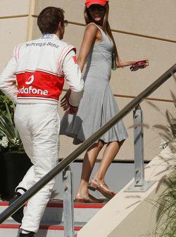 Jenson Button, McLaren Mercedes with his girlfriend Jessica Michibata