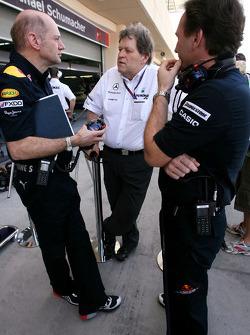 Adrian Newey, Red Bull Racing, Technical Operations Director, Norbert Haug, Mercedes, Motorsport chief en Christian Horner, Red Bull Racing, Sporting Director