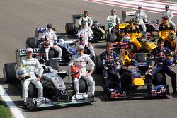 Nico Rosberg, Mercedes GP, Michael Schumacher, Mercedes GP, Sebastian Vettel, Red Bull Racing, Mark Webber, Red Bull Racing