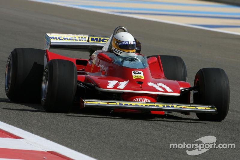 Jody Scheckter, 1979 F1 World Champion drives the 1979 Ferrari 312 T4 at Bahrain GP