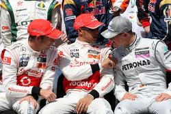 Jenson Button, McLaren Mercedes, Lewis Hamilton, McLaren Mercedes, Michael Schumacher, Mercedes GP