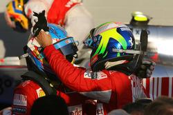 Race winner Fernando Alonso, Scuderia Ferrari celebrates with second place Felipe Massa, Scuderia Ferrari