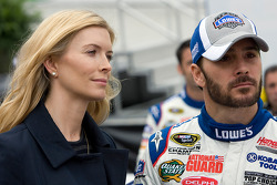 Jimmie Johnson, Hendrick Motorsports Chevrolet with wife Chandra