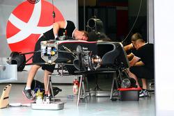 Hispania Racing F1 Team work on thier cars