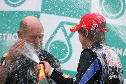 Podium: race winner Sebastian Vettel, Red Bull Racing, Adrian Newey, Red Bull Racing, Technical Operations Director