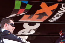 Casey Mears sits on top of the No. 11 pit box
