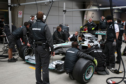 Pitstop practice, the car of Nico Rosberg, Mercedes GP