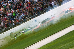 A multiple car wreck brings out a red flag