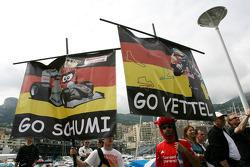 Michael Schumacher, Mercedes GP and Sebastian Vettel, Red Bull Racing fans