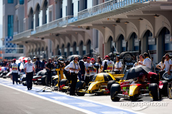 GP2 cars in the pit lane before the start of qualifying
