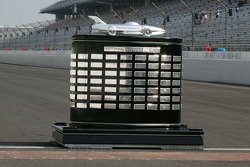 The Harley J. Earl Trophy sits on the famous Yard of Bricks at the Indianapolis Motor Speedway.