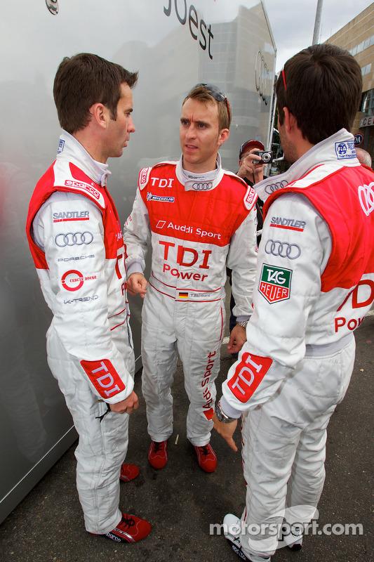 Romain Dumas, Timo Bernhard en Mike Rockenfeller