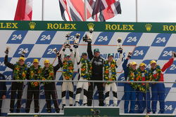 LMP2 podium: class winners Nick Leventis, Danny Watts and Jonny Kane, second place Matthieu Lahaye, Guillaume Moreau and Jan Charouz, third place Mike Newton, Thomas Erdos and Andy Wallace