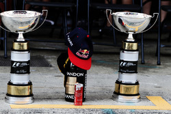The trophies for race winner Max Verstappen, Red Bull Racing