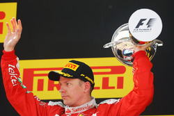 Kimi Raikkonen, Ferrari celebrates his second position on the podium