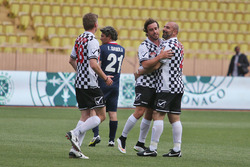 Fernando Alonso, McLaren and and Ivan Capelli at a charity football match