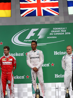 1st for Lewis Hamilton, Mercedes AMG F1 W07 , 2nd Sebastian Vettel, Scuderia Ferrari SF16-H and 3rd for Valtteri Bottas, Williams Martini Racing FW38