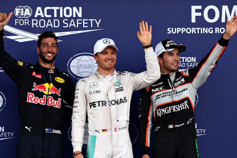 Qualifying top three in parc ferme (L to R): Daniel Ricciardo, Red Bull Racing RB12, third; Nico Rosberg, Mercedes AMG F1, pole position; Sergio Perez, Sahara Force India F1, second