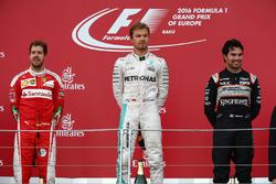 1st place Nico Rosberg, Mercedes AMG Petronas F1 W07, 2nd place Sebastian Vettel, Scuderia Ferrari SF16-H and 3rd place Sergio Perez, Force India F1 VJM09