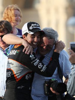 Sergio Perez, Sahara Force India F1 celebrates his third position