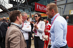 (L to R): Allan McNish,; Patrick Allen, Silverstone Managing Director on the grid with Lady Sarra Hoy, and Sir Chris Hoy,