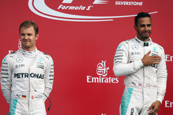 The podium (L to R): Nico Rosberg, Mercedes AMG F1 with team mate Lewis Hamilton, Mercedes AMG F1