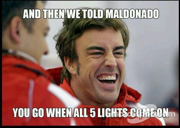 Alonso makes fun of Pastor Maldonado jump start at Spa