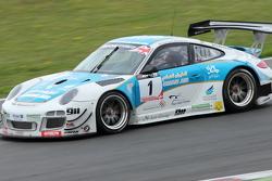 Ahmad Al Harthy and Michael Caine (Oman Air Motorbase /  Porsche 997 GT3 R)