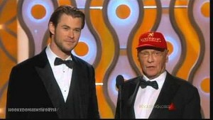 Chris Hemsworth and Niki Lauda - Golden Globes 2014