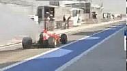 F1 Testing Bahrain 2014 - Fernando Alonso's Ferrari Going up in smoke Leaving the Pits