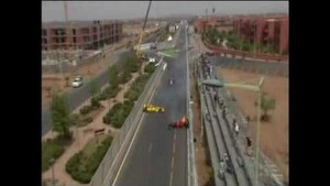 Ricardo Teixeira's huge crash in the second FIA Formula Two race at Marrakech, in 2010