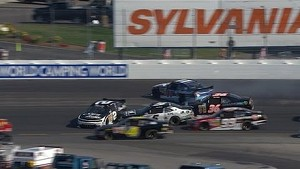 Scott gets into Sadler causing big wreck