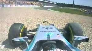 Mercedes driver Lewis Hamilton crashed at 2014 German GP Qualifying FP1